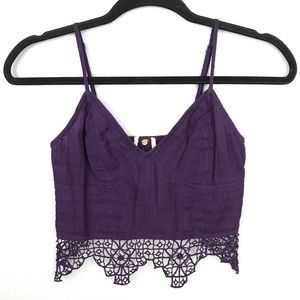 Free People One Geo Lace Bralette Purple Sz XS